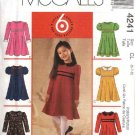 McCall's Sewing Pattern 4241 Girls Size 6-8 Easy Raised Waist Flared Skirt Short Long Sleeve Dress