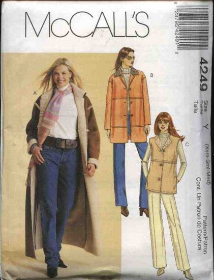 McCall's Sewing Pattern 4249 Misses Size 4-14 Unlined Fake Shearling Long Coat Jacket Vest