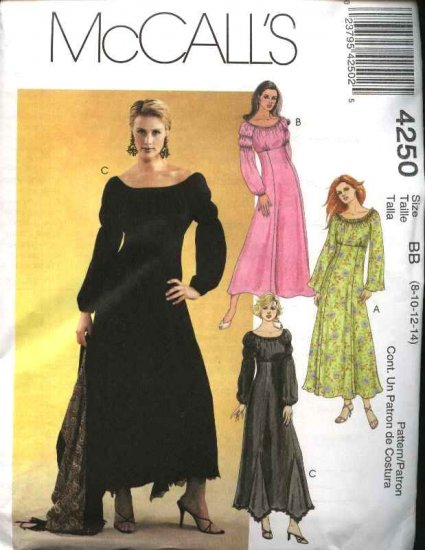 McCall's Sewing Pattern 4250 Misses Size 4-10 Long Raised Empire Waist Dresses
