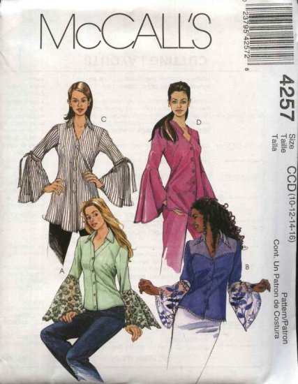 McCall's Sewing Pattern 4257 Misses Size 6-12 Button Front Long Sleeve Shirt