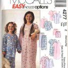 McCall's Sewing Pattern 4277 Girls Boys Size 2-6 Easy Nightgown Pajamas Pullover Top Pants Shorts