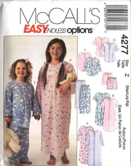 McCall's Sewing Pattern 4277 Girls Boys Size 7-14 Easy Nightgown Pajamas Pullover Top Pants Shorts