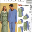 "McCall's Sewing Pattern 4279 Misses Mens Unisex Chest Size 31 1/2 - 40"" Pajamas Nightshirt Nightgown"