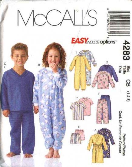 McCall's Sewing Pattern 4283 Boys Girls Size 1-3 Robe Sleeper Pajamas Pants Shorts Pullover Tops
