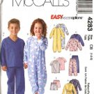 McCall's Sewing Pattern 4283 Boys Girls Size 1-3 Robe Sleeper Pajamas Pants Shorts Pullover Tops