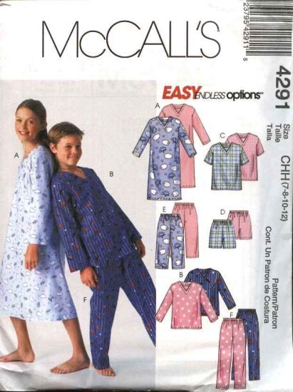McCall's Sewing Pattern 4291 Boys Girls Size 7-12 Easy Pajamas Nightgown Pants Shorts Pullover Tops