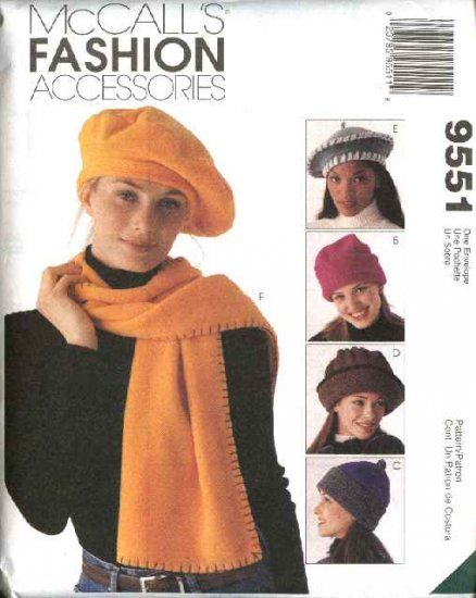 McCall's Sewing Pattern 9551 Misses Fleece Hat Scarf Tote Bag Roll Up Blanket
