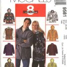 "McCall's Sewing Pattern 9581 Mens Misses Unisex Chest Size 38-40"" Easy  Zipper Front Hooded Jacket"