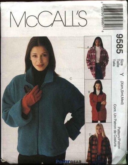 McCall's Sewing Pattern 9585 Misses Size 4-14 Lined Zipper Front Fleece Wool Denim Jacket
