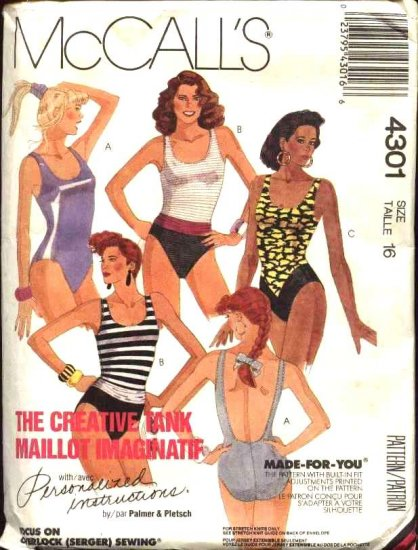 McCall's Sewing Pattern 4301 Misses Size 16 One Piece Maillot Tank Bathing Swimming Suit Swimsuit