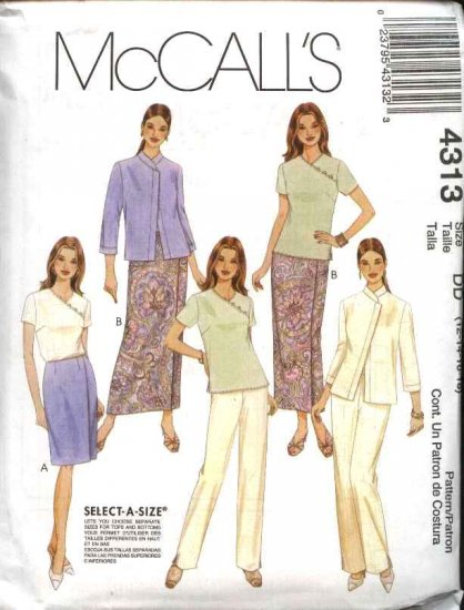 McCall's Sewing Pattern 4313 Misses Size 14-20 Wardrobe Jacket Top Wrap Front Skirt Long Pants