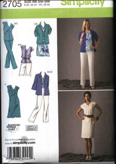 Simplicity Sewing Pattern 2705 Womans Plus Size 20W-28W Wardrobe Dress Top Pants Shorts Jacket
