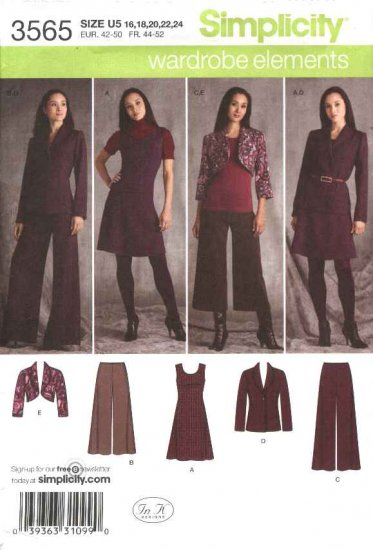Simplicity Sewing Pattern 3565 Misses Size 16-24 Wardrobe Jumper Shrug Pants Jacket Dress