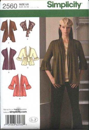 Pattern 2560 Misses Size 8-16 Knit Cardigans Jackets Shrug Bolero