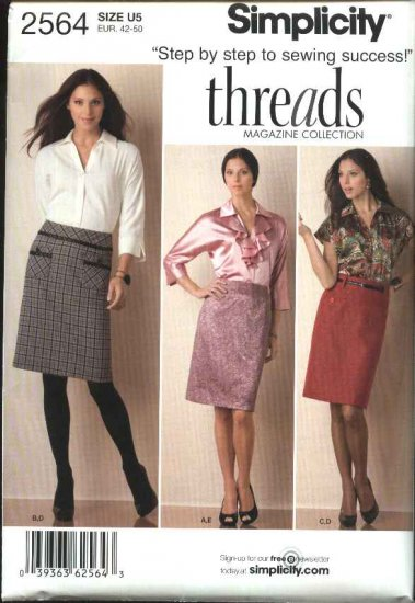 Simplicity Sewing Pattern 2564 Misses Size 16-24 Threads Straight Skirt Button Front Blouse