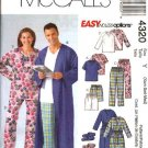 "McCall's Sewing Pattern 4320 Misses Mens Unisex Chest Size 38-44"" Easy Pajamas Robe Slippers"