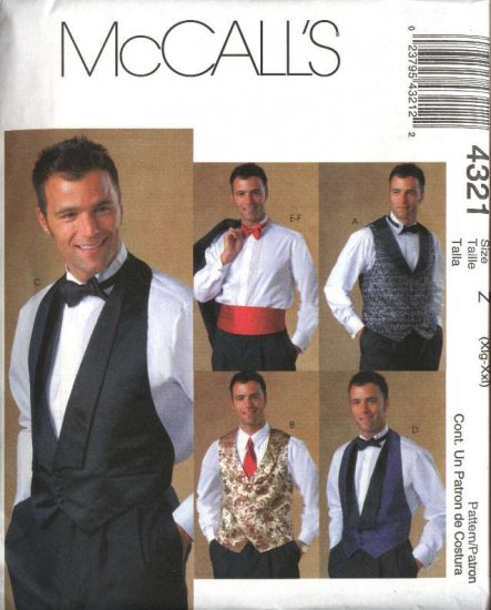 "McCall's Sewing Pattern 4321 Mens Size 46-52"" Formal Lined Tuxedo Vest Bow Tie Cummerbund"