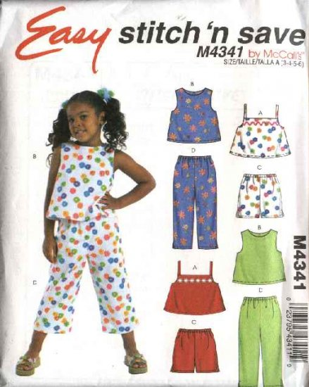 McCall's Sewing Pattern 4341 Girls Size 3-6 Easy Summer Suntops Tops Shorts Cropped Pants