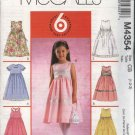 McCall's Sewing Pattern 4354 Toddler Girls Size 1-3 Easy Sleeveless Short Sleeve Full Skirt Dress