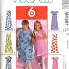 McCall's Sewing Pattern 4361 Girls Size 7-12 Easy Pullover Empire Raised Waist Summer Dress Scarf