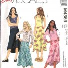 McCall's Sewing Pattern 4363 Girls Size 12-16 Easy Knit Sleeveless Long Sleeve Tops  Lined Skirt
