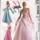 McCall's Sewing Pattern 4366 Junior Size 3/4-9/10 NYNY Formal Prom Gown 2-Piece Dress Top Skirt