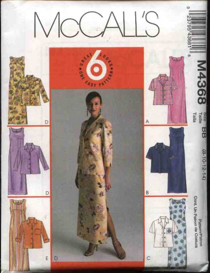 McCall's Sewing Pattern 4368 Misses Size 8-14 Easy Straight Sleeveless Dress Unlined Jacket