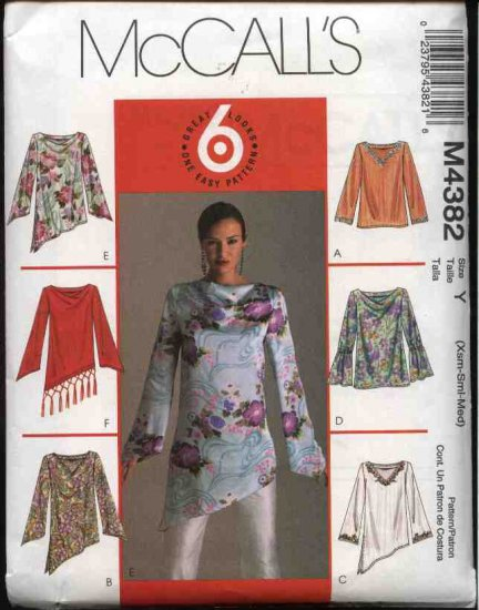 McCall's Sewing Pattern 4382 M4382 Misses Size 4-14 Easy Pullover Long Sleeve Tops Tunics