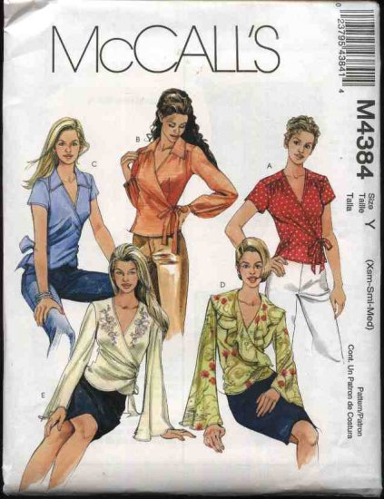 McCall's Sewing Pattern 4384 Misses Size 16-22 Front Wrap Tops Blouses Long Short Sleeves