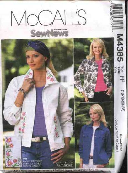 McCall's Sewing Pattern 4385 P289 Misses Size 10-16 Sew News Blue Jean Jacket Machine Embroidery