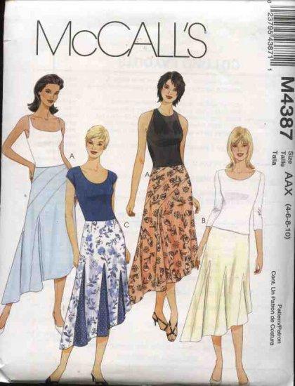 McCall's Sewing Pattern 4387 Misses Size 8-14 Flared Godet Seam Details Asymmetrical Hemline Skirt