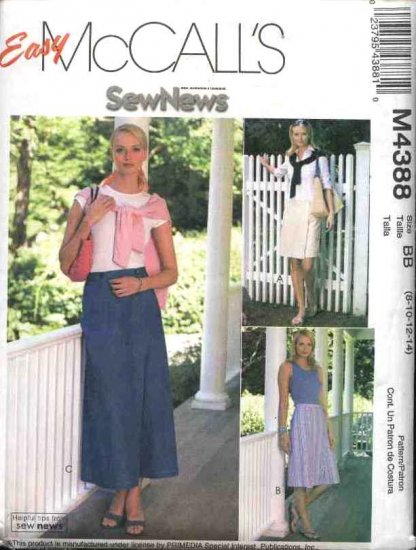 McCall's Sewing Pattern 4388 Misses Size 8-14 Easy  SewNews® Skorts Mock Straight Wrap Skirt