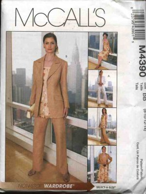 McCall's Sewing Pattern 4390 M4390 Misses Size 8-14 Wardrobe Lined jacket Top Tunic Skirt Pants