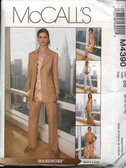 McCall's Sewing Pattern 4390 Misses Size 10-16 Wardrobe Lined jacket Top Tunic Skirt Pants
