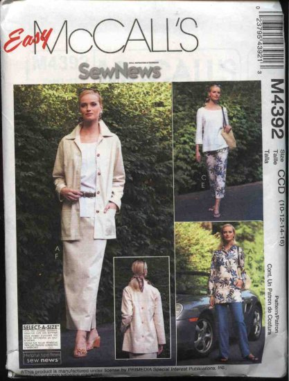 McCall's Sewing Pattern 4392 Misses Size 10-16 Easy Wardrobe Jacket Tops Pants Straight Skirt