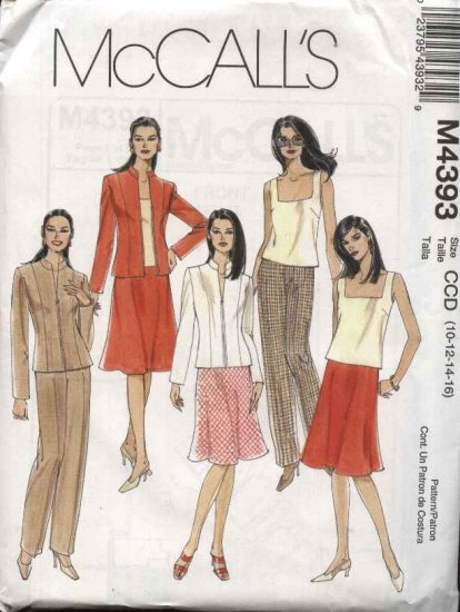 McCall's Sewing Pattern 4393 M4393 Misses Size 10-16 Wardrobe Zipper Front Jacket Top Skirt Pants