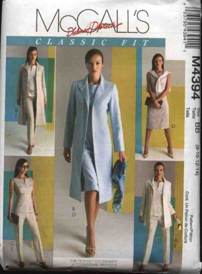 McCall's Sewing Pattern 4394 Misses Size 8-14 Wardrobe Classic Lined Jacket Coat Top Dress Pants