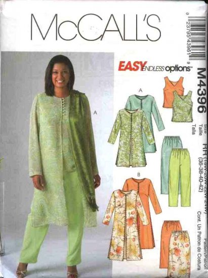 McCall's Sewing Pattern 4396 Womans Plus Size 26W-32W Easy Wardrobe Top Pants Skirt Duster