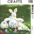 McCall's Sewing Pattern 4412 Easter Decorations Soft Sculpture Embroidered Rabbit Bunny  Egg