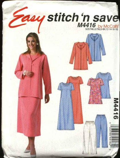 McCall's Sewing Pattern 4416 Misses Size 12-18 Easy Pullover A-Line Dress Tunic Top Jacket Pants