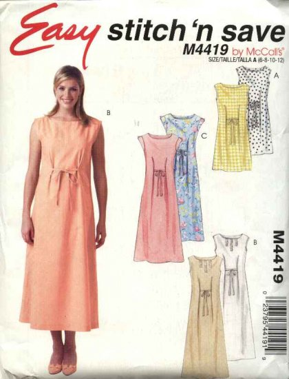 McCall's Sewing Pattern 4419 Misses Size 14-20 Easy Pullover Sleeveless Long Short Summer Dress