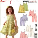 McCall's Sewing Pattern 4422 Girls Size 3-6 Easy Summer Pullover Sleeveless Dress Tops Pants