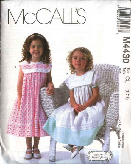 McCall's Sewing Pattern 4430 Girls Size 6-7-8 Gathered Skirt Puffy Sleeve Sleeveless Collar Dress