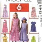 McCall's Sewing Pattern 4432 Girls Size 3-6 Easy Sleeveless Short Sleeve Gathered Skirt Dress Hat