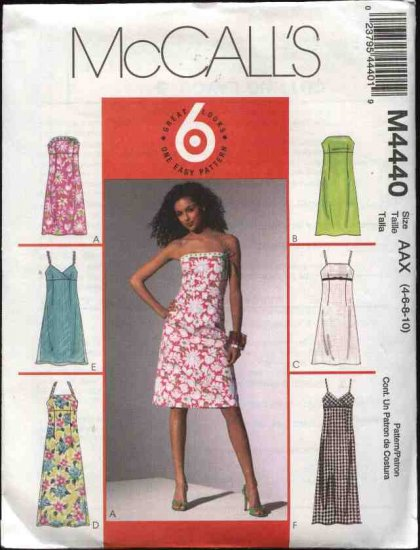 McCall's Sewing Pattern 4440 Misses Size 8-14 Easy Empire Raised Waist A-Line Long Short  Dresses