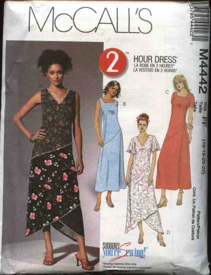 McCall�s Sewing Pattern 4442 Misses Size 8-14 2-Hour Lined Color Blocked Seam Detail Dresses