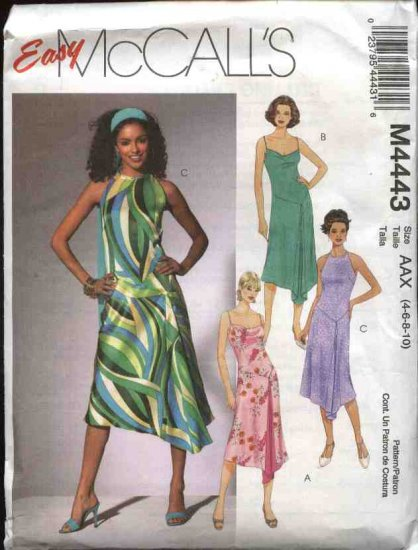 McCall's Sewing Pattern 4443 Misses Size 4-10 Easy Summer Lined Dropped Waist Godet Dresses