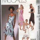 McCall's Sewing Pattern 4445 M4445 Misses Size 8-14 Summer Sleeveless Lined Dress Hemline Variations