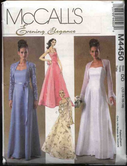 McCall's Sewing Pattern 4450 Misses Size 8-14 Strapless Formal Wedding Prom Gown Dress Shrug