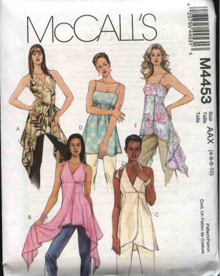 McCall's Sewing Pattern 4453 Misses Size 4-10 Empire Raised Waist Pullover Halter Top Tunic